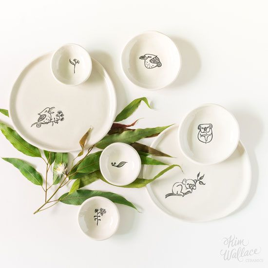 Bush Prints Collection by KW Ceramics. The Bush Prints Collection is a collaborative range between myself and artist & illustrator Renée Treml, inspired by our love for Australian wildlife.