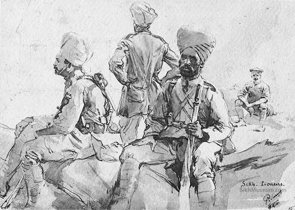 Sikh Soldiers in World War I, Title: Sikh Pioneers, Artist: Paul Sarrut c. Aug. 3, 1915, Print, British and Indian Troops in Northern France, 70 War Sketches. To see more artwork like this visit the SikhMuseum.com Exhibit - The Art of War