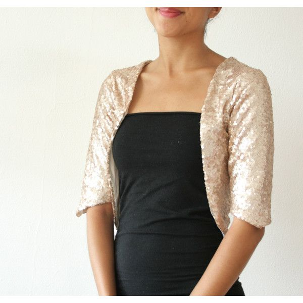 Discounted Small Gold Champagne Sequin Bolero Shrug Formal Wedding or... ($80) ❤ liked on Polyvore featuring gold, sweaters, women's clothing, champagne shrug, evening shrugs, formal shrug, sequin shrug and gold shrug
