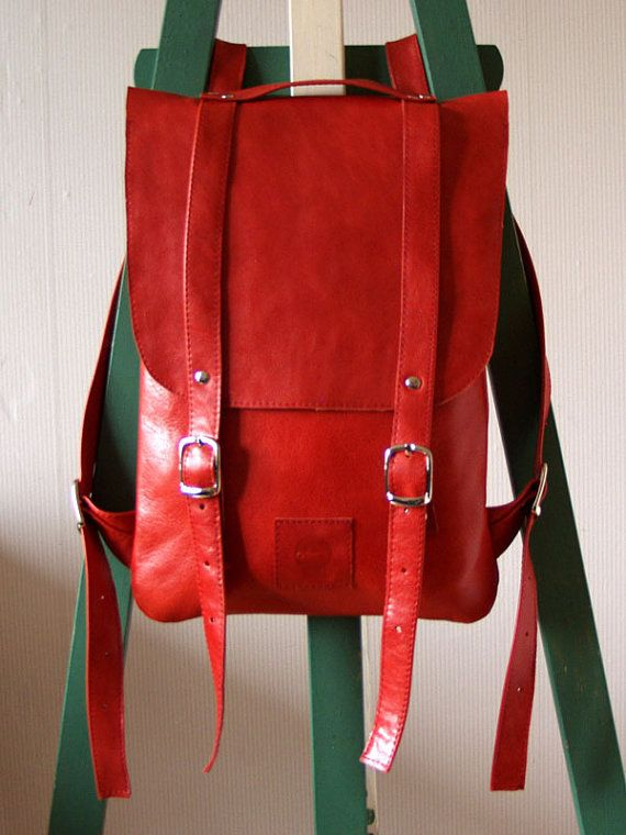 Hot red leather backpack rucksack / To order by kokosina on Etsy