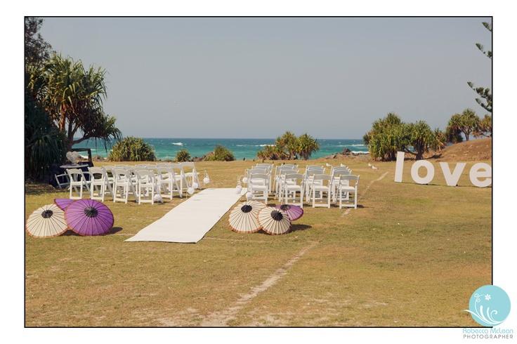 Beach Ceremony set up. Kingscliff.  Robecca McLean Photographer