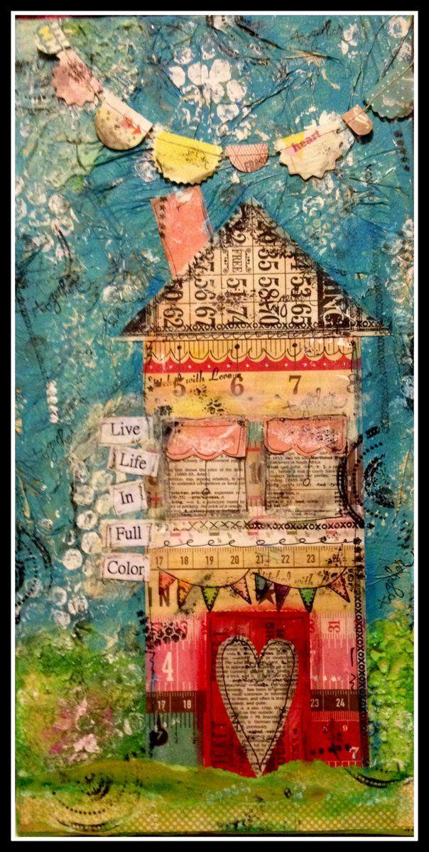 mixed media houses   Mixed Media Art Canvas