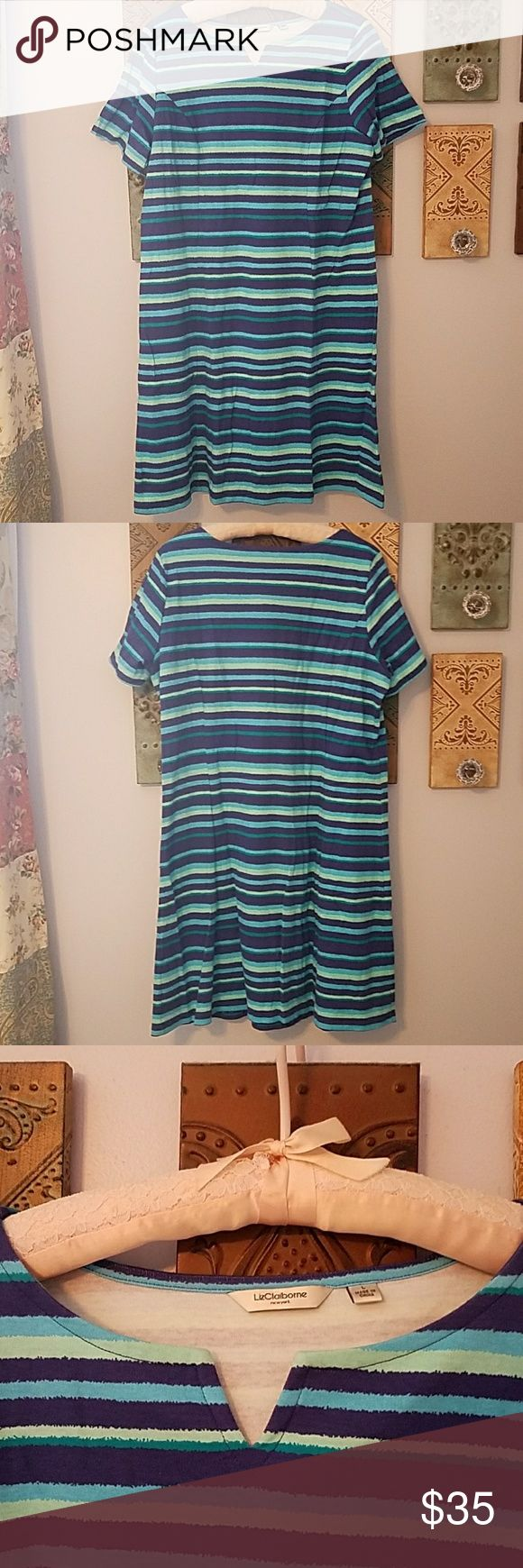 "Liz Clairborne NY Striped Dress Fun and comfy t-shirt dress with figure flattering seaming detail and notched neckline.  Can be dressed up or dressed down with wedges or heels or even a cute pair of sneakers. I bought it from QVC and its unavailable now.  Worn once. Really!  Bust 23"" waist 21"",  hip 23"" length 37"".  100% cotton. Liz Claiborne Dresses Midi"