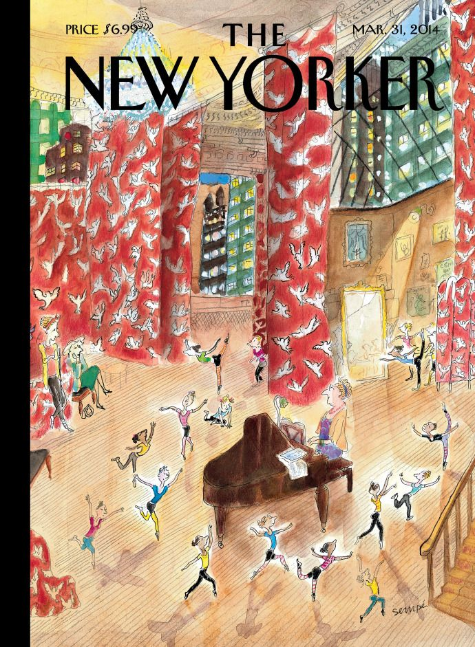 """Sempé, """"Dance Around a Piano,"""" New Yorker covers celebrating the art of dance."""
