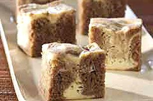 PHILADELPHIA® Marbled Carrot Cake Bars recipe.  Add extra spices to the mix and grated orange peel to the cream cheese mixture.  Can use spice bread or pumpkin bread mix as well.