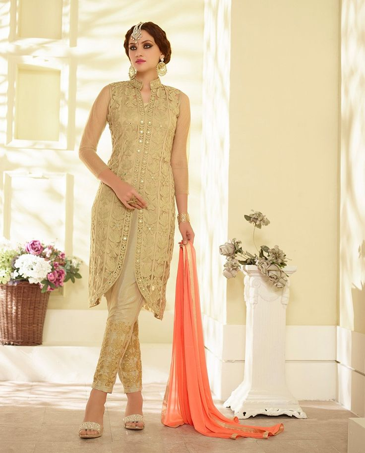 Beige embroidered front slit suit with embellished bottom 1. Beige net embroidered front slit suit2. Comes with matching santoon bottom and chiffon dupatta3. Can be stitched upto size 42 inches