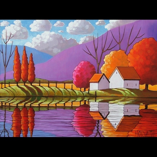 18x24 Mountain View Original Modern Folk Art Landscape Abstract Painting Horvath   eBay