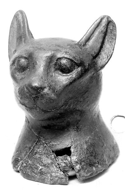 Head of a cat Period: Late Period–Ptolemaic Period Date: 664–30 B.C. Geography: From Egypt Medium: Copper Alloy