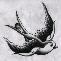 tattoo key swallow sparrow ribbon photo: Traditional Swallow (B&W ...