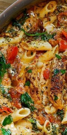 CHICKEN PASTA WITH BACON AND SPINACH IN CREAMY TOMATO SAUCE