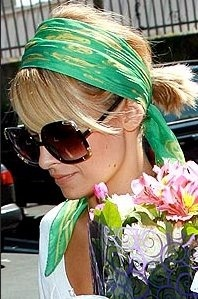 Nicole Richie: hair scarves. short hair miracle in the summer
