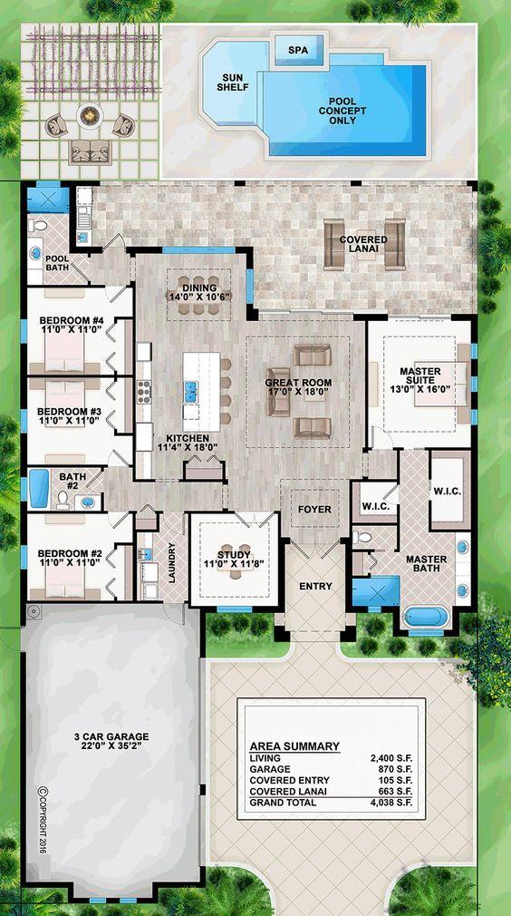Coastal Contemporary Florida House Plan 52921 Level One