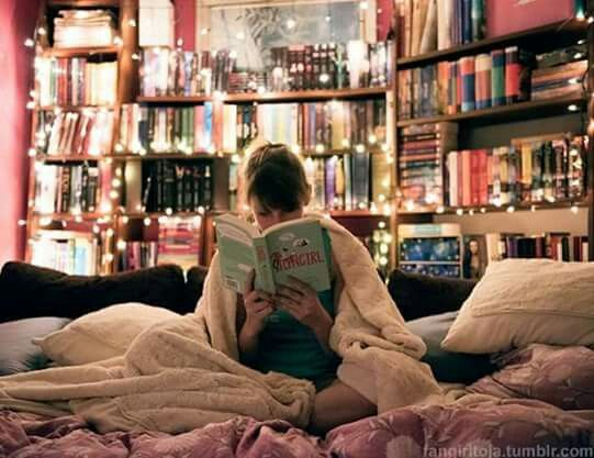 Beautiful string lights and books