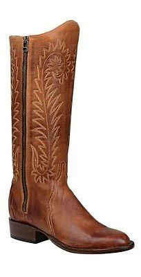 Lucchese-HL4513-88-Womens-Cognac-Calf-Leather-Western-Riding-Boots-w-Zipper