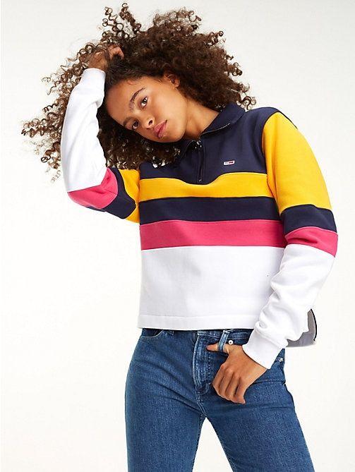 5f23fb98 TOMMY JEANS Colour-Blocked Cropped Sweatshirt - BLACK IRIS / MULTI - TOMMY  JEANS Sweatshirts & Hoodies - main image