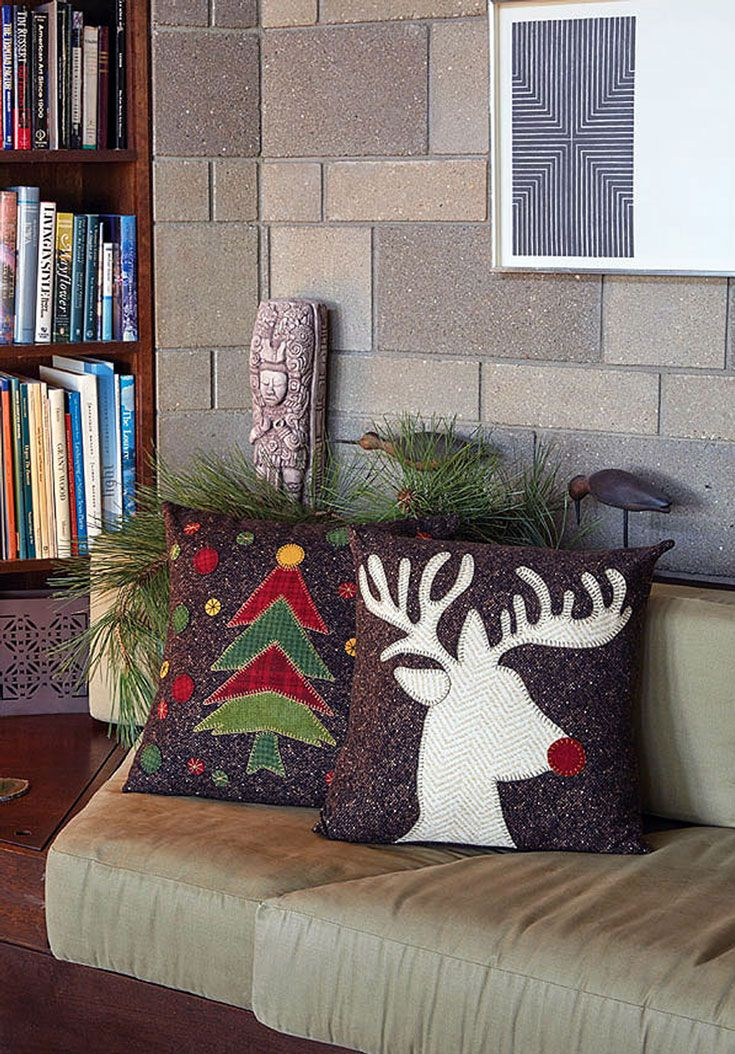 Chilly days call for easy sewing projects, and these pillows are just the thing. Use flannel or felted wool to make a decorative throw pillow for the holidays or one that you can use all winter long!
