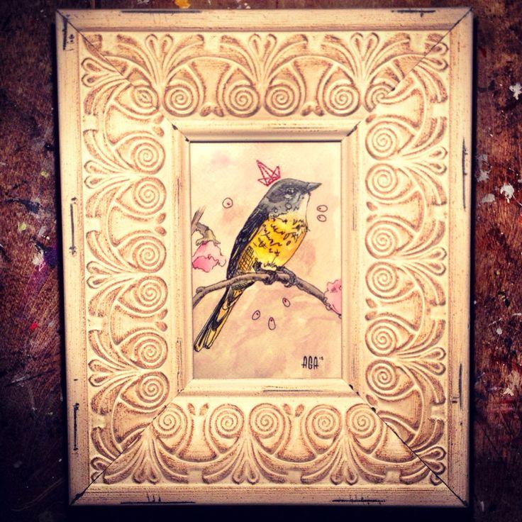 #AGA #agaartist #artist #art #watercolor #bird #crown #paint #pencil #pink #yellow