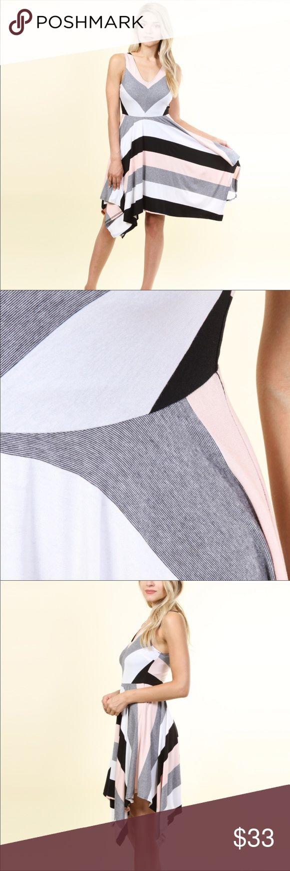 🆕 Multi color striper fit n flare dress!!👗👗👗 Fit n flare dress with asymmetrical hem. Stunningly Gorgeoussss 😍😍😍 Dresses Midi