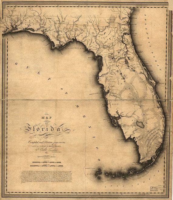 1823 Map of Florida United States Florida by InterestingPhotos, $4.82