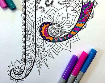 8.5 x 11» PDF coloriage de la lettre majuscule «S» - inspiré par la police d'écriture «Harrington»  Plaisir pour tous les âges.  Soulager le stress, ou tout simplement se détendre et s'amuser à l'aide de vos crayons de couleurs préférées, stylos, aquarelles, peinture, pastels ou crayons de couleur.  Impression sur du papier cartonné ou autre papier épais (recommandé).  Art original par Devyn Brewer (DJPenscript).  Pour un usage personnel seulement. S'il vous plaît ne pas reproduire ou…