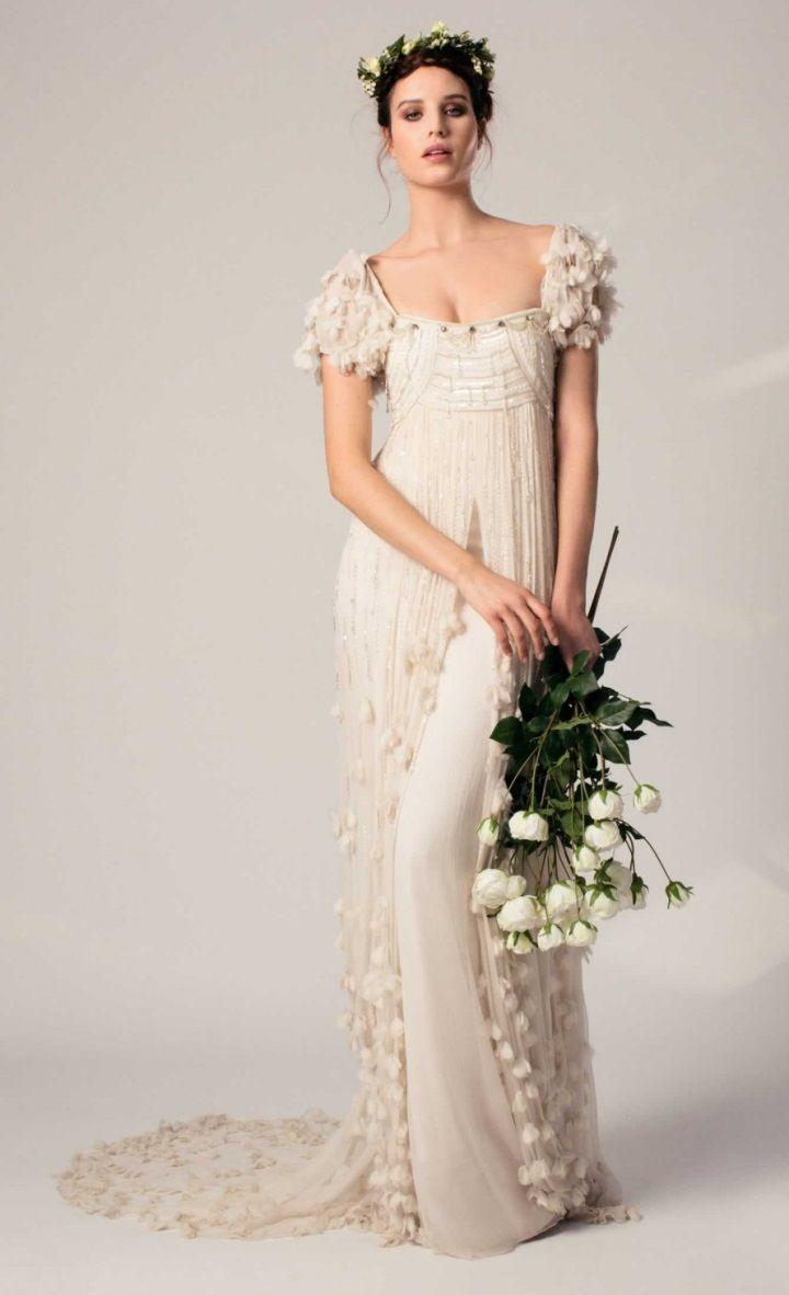 vestido de noiva vintage floreado de Temperley London modelo TWINKLE DRESS com corte império e cauda de flores