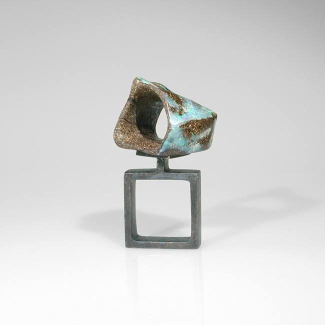sergio stefano spivach - carved air. boulder opal, silver -sculturaperlamano - 