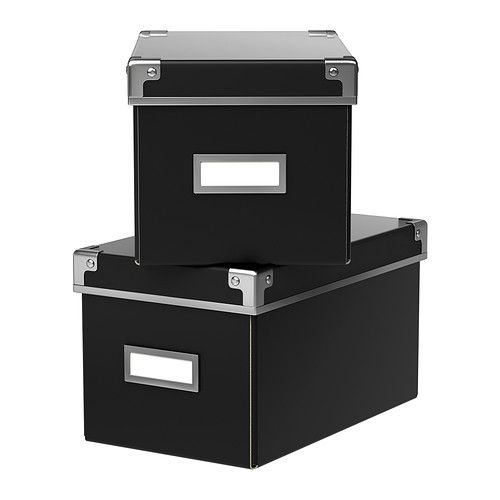 KASSETT Box with lid IKEA This box is perfect for storing your CDs, games, chargers or desk accessories. $4.99