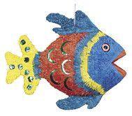 Piniata w kształcie kolorowej rybki.
