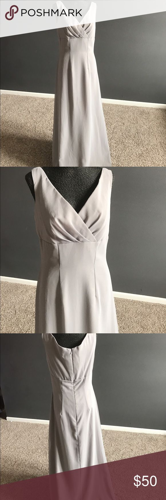 Watters gray gown This would be an amazing mother of the bride gown or bridesmaid gown.  Would look smashing with a scarf or shawl .  Gray or silver floor length zipper back.  Gown was a sample Watters Dresses Maxi