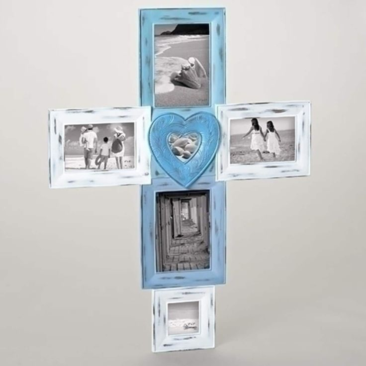 26.75 Weather-Finished Blue and White Photo Picture Frame Cross Shaped Collage Wall Decoration