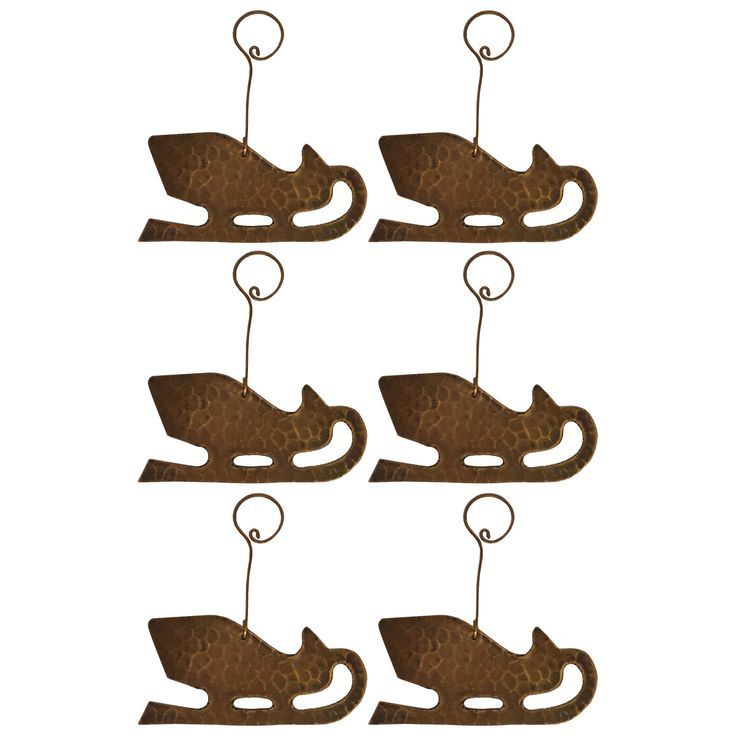 Premier Copper Products Christmas Sleigh Hand-hammered Copper Ornaments