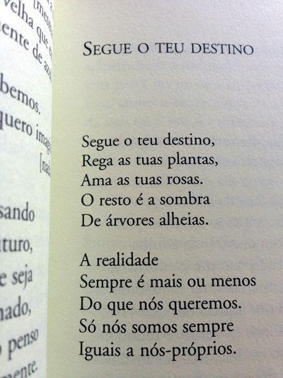 SEGUE O TEU DESTINO Segue o teu destino, Rega as tuas plantas, Ama tuas rosas,  O resto é a sombra De àrvores alheias.  A realidade Sempre é mais ou menos Do que nós queremos. Só nós somos sempre Iguais a nós-próprios.