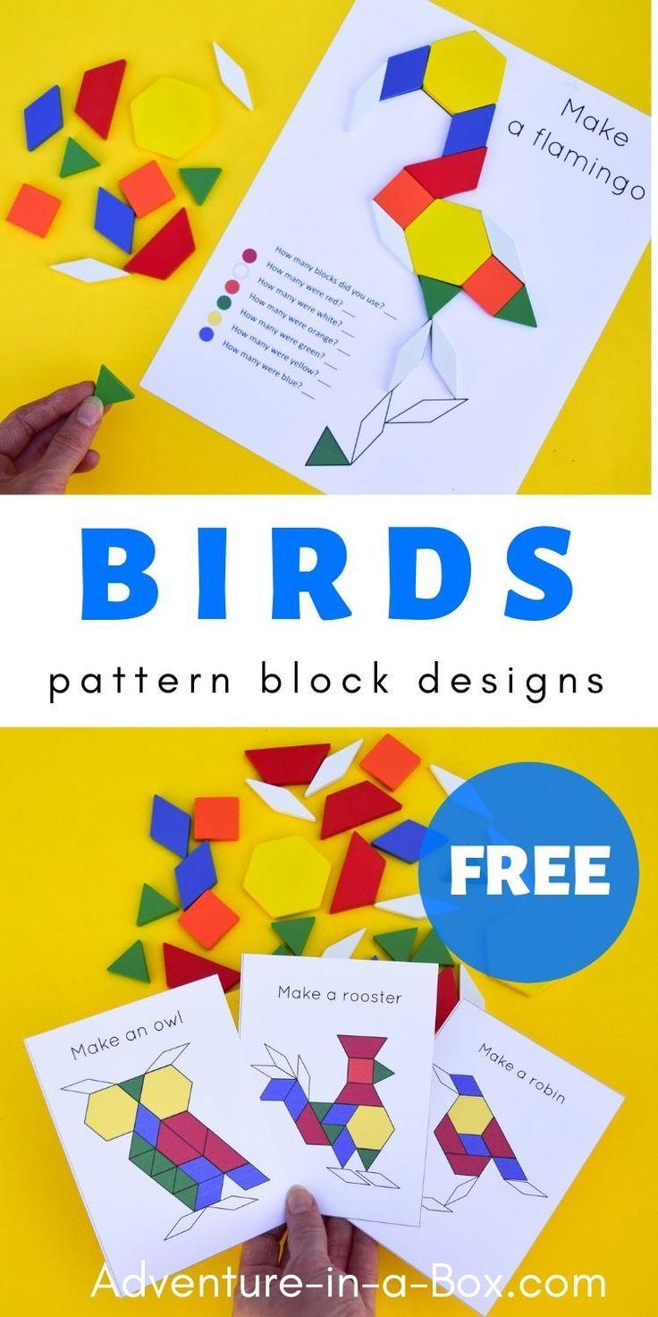 Birds Free Pattern Block Designs Preschool Activities Bird Crafts Preschool Pattern Block Printables [ 1472 x 736 Pixel ]