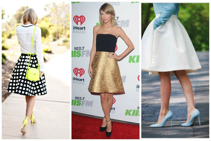 Outfits for apple shape body. White midi skirt with denim shirt, black tube top with gold skirt and black and white skirt with blouse. Shoes - pumps. Learn how to dress your apple shape body >>> http://justbestylish.com/how-to-dress-the-apple-figure/2/