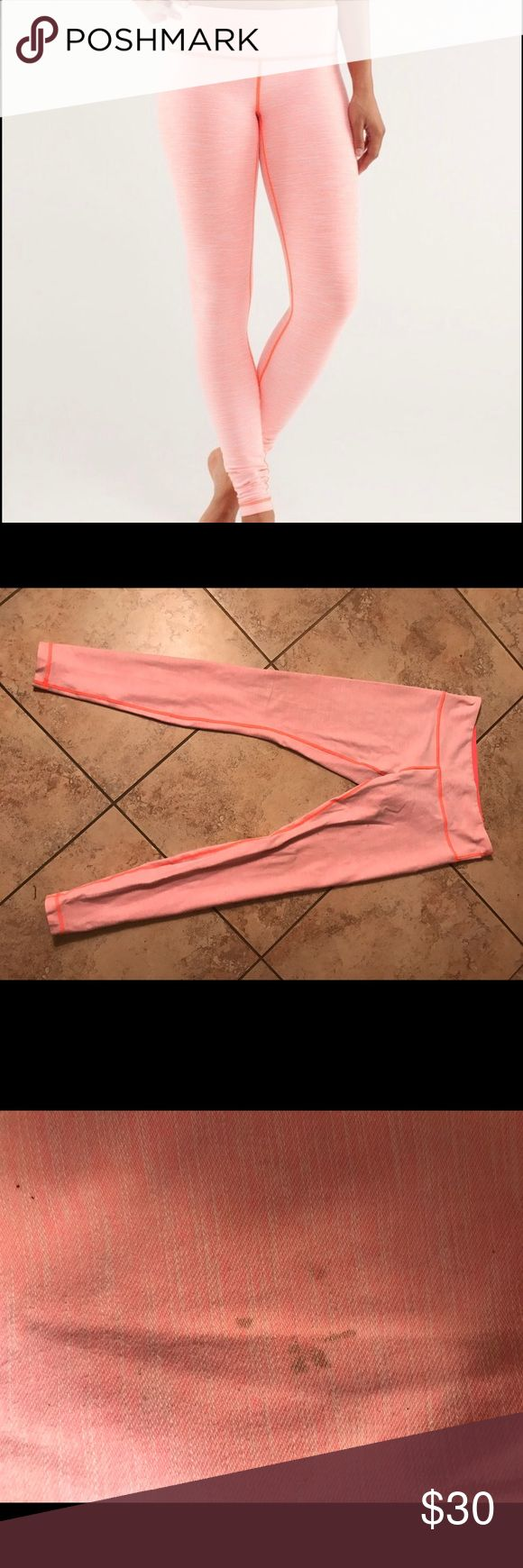 Lululemon Wunder Under Pink Slub Denim Legging Wears like new! Two small stains as shown which is why there is such a big discount. *RARE* lululemon athletica Pants Leggings