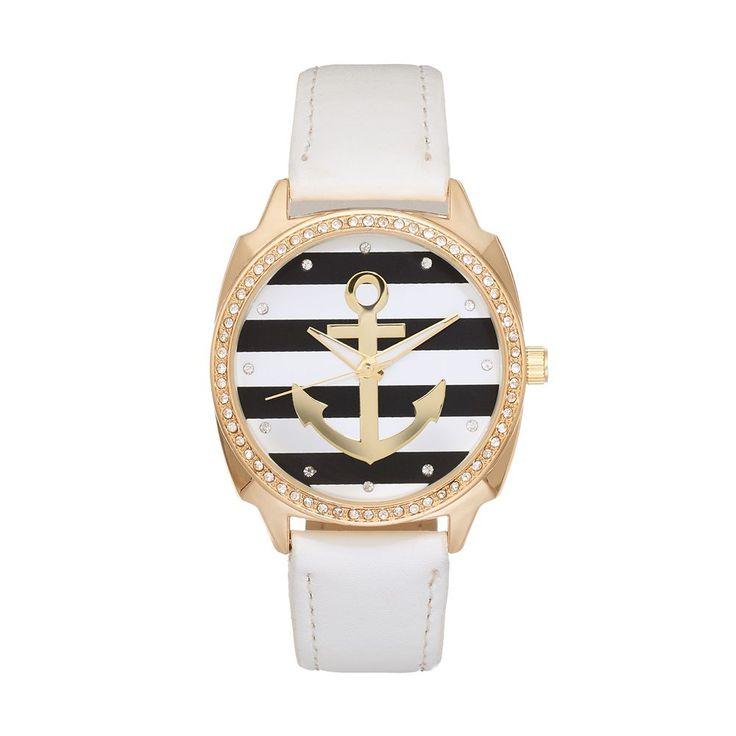 Women's Crystal Striped Anchor Watch, Size: Medium, White