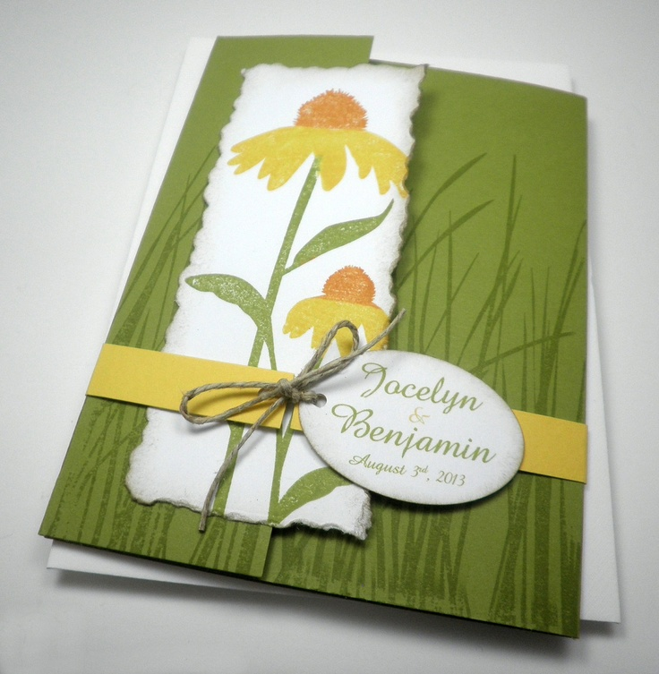 Daisy Flower Pocket Wedding Invitation - Bright Summer Lime Green and Yellow. $5.95, via Etsy.