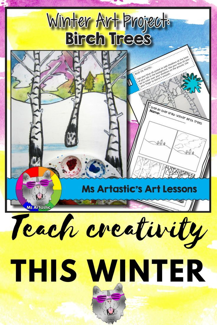 Winter inspired art for your classroom! Use both paint and oil pastels to create a winter birch tree and snow, landscape art piece with your students! This is a great way to keep them engaged when the snow falls this winter.