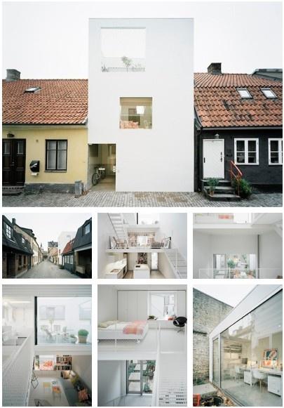 Studio Elding Oscarson ontwierp dit witte, comtemporary huis, gesandwiched tussen 2 oorspronkelijke woningen in Landskrona, Zweden. #minimalistisch #design #architectuur