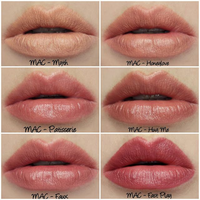 MAC Myth, Honeylove, Patisserie, Hug Me, Faux, Fast Play lipstick swatches & review