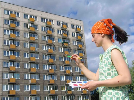 Julita Wójcik's project to paint a very dull and oppressive apartment block more colourfully.
