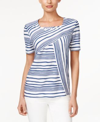 Alfred Dunner Striped Beaded Top - Tops - Women - Macy's