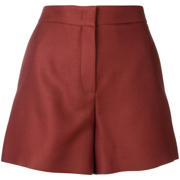 Emilio Pucci tailored high-waist shorts (2,810 AED) ❤ liked on Polyvore featuring shorts, red, tailored shorts, red high waisted shorts, high rise shorts, red shorts and highwaist shorts