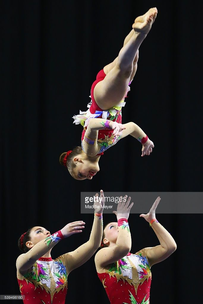 Abigail Disman, Alexandra Gladkova and Nicole Johnson compete in the Women's Group Dynamic competition during 2016 USA Gymnastics Championships - Day 2 at the Dunkin' Donuts Center on June 11, 2016 in Providence, Rhode Island.