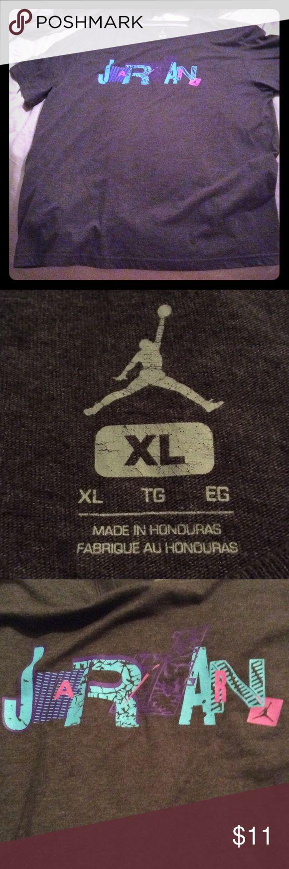 Michael Jordan xl t-shirt Grey short sleeve Jordan Grey shirt blue/pink lettering Air Jordan Shirts Tees - Short Sleeve