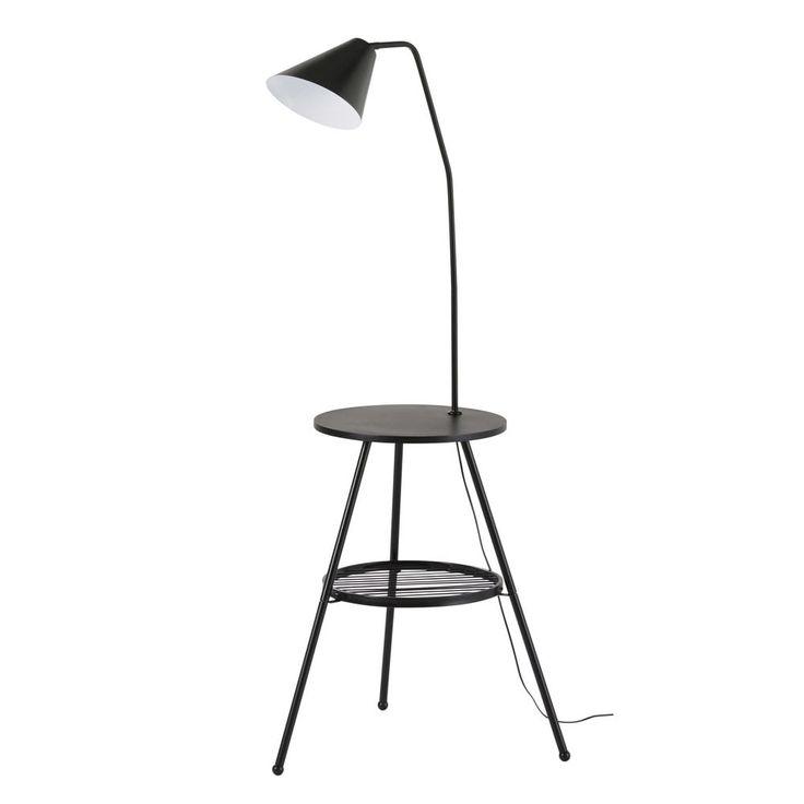 Table d'appoint avec lampe intégrée en métal noir CARTER