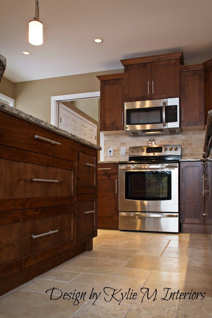 Decorating Kitchen Remodel With Cherry Cabinets Travertine