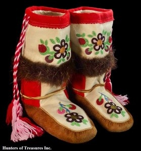 Old Vtg Native American Beadwork ATHABASCAN Indian Beaded Moccasins Boots