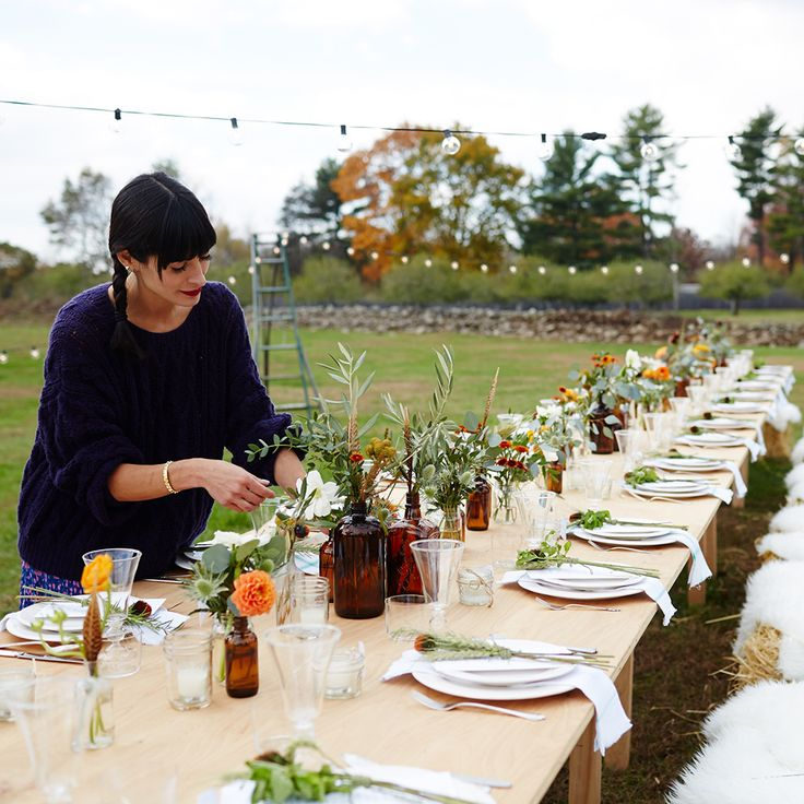 Outdoor Fall Party; Harvest Table; Hay Bale Seating