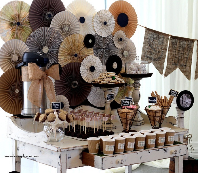 vintage candy buffet, hot chocolate table, pinwheel background